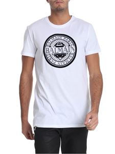 Balmain - White t-shirt with flock logo print