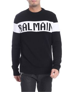 Balmain - Black pullover with white inlay