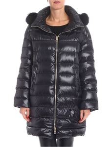 Herno - Black long down jacket with fur detail