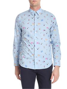 Paul Smith - Light-blue shirt with mini multicolor prints