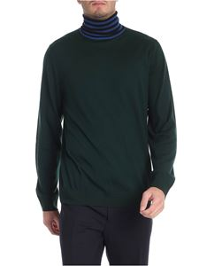 Paul Smith - Green turtleneck with black and blue collar