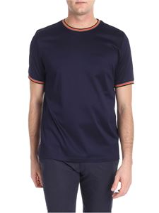 Paul Smith - Blue t-shirt with multicolor striped details