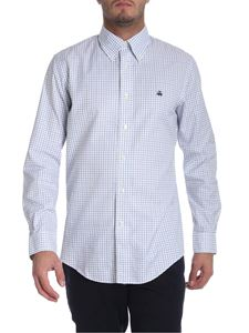 Brooks Brothers - White green and blue twill button-down shirt