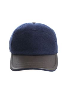 Fedeli - Blue cap with leather details