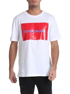 Calvin Klein Jeans - White t-shirt with coated red print