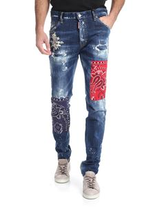 """Dsquared2 - Jeans """" Cool Guy"""" blu con toppe"""