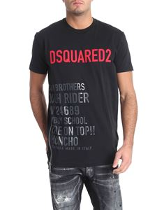 Dsquared2 - T-shirt nera stampa logo rossa con zip