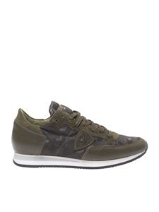 "Philippe Model - ""Tropez L"" camouflage green sneakers"