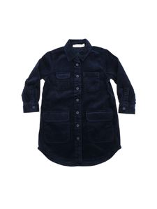 Stella McCartney Kids - Abito camicia blu in velluto a coste