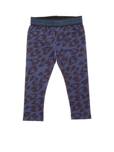 Stella McCartney Kids - Leggings blu stampa animalier