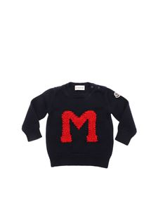 Moncler Jr - Blue pullover with embroidered logo