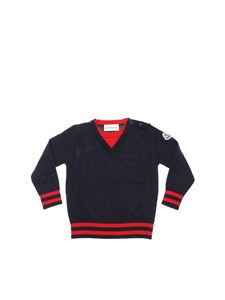 Moncler Jr - Blue pullover with red details