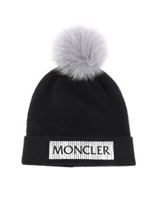 Moncler Jr - Black cap with silver logo print