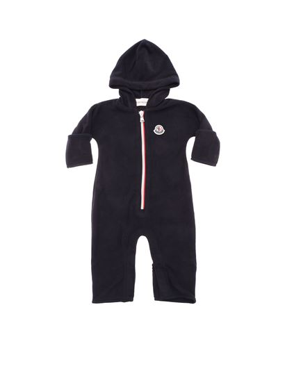 28e798632 Moncler Jr Fall Winter 18 19 blue romper with hood and logo ...