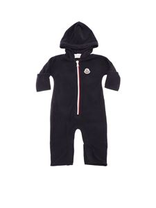 Moncler Jr - Blue romper with hood and logo