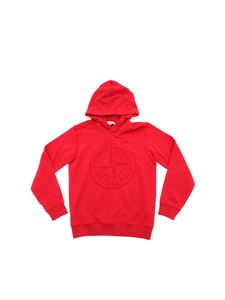 Stone Island Junior - Red sweatshirt with embroidered logo