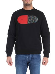 PS by Paul Smith - Felpa nera stampa multicolor