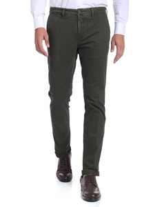 Moncler - Green chino trousers with delavè effect