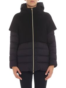 Herno - Black wool hooded coat