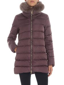 Herno - Purple down jacket with fox collar