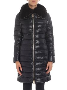 Herno - Black down jacket with fox collar