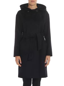 "Max Mara Weekend - ""Bardies"" black hooded coat"