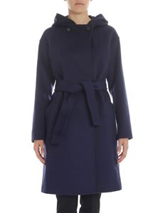 "Max Mara Weekend - ""Bardies"" blue hooded coat"
