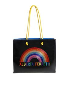 Alberta Ferretti - Black shopping bag with multicolor logo