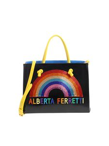 Alberta Ferretti - Black handbag with multicolor logo