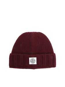 Stone Island - Burgundy virgin wool beanie