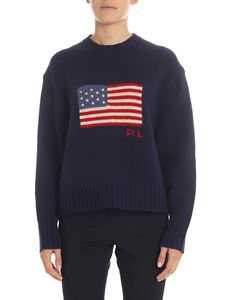 POLO Ralph Lauren - Blue pullover with flag embroidery