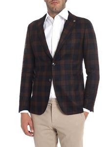 Tagliatore - Blue and brown checked two buttons jacket