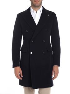 Tagliatore - Blue double-breasted lined coat