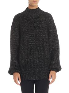 Alberta Ferretti - Black pullover with golden lamé thread inserts