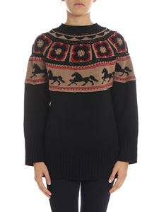 Alberta Ferretti - Black pullover with beige and red inserts