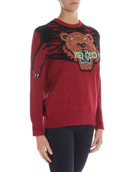 """Kenzo - """"Claw Tiger"""" red pullover"""