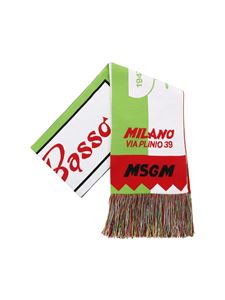 MSGM - Green white and red scarf with fringes