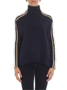 Tommy Icons - Blue overfit sweater with lamé inserts