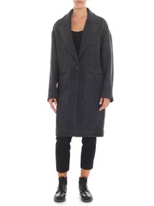 Iro - Black and grey melange overfit overcoat