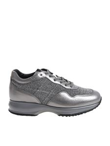 Hogan - Laminated leather grey sneakers