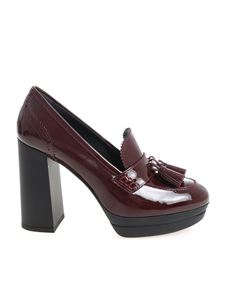 Hogan - Burgundy patent leather shoes with tassels