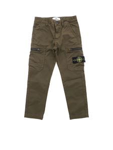 Stone Island Junior - Army green pants with removable logo