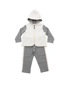 Moncler Jr - Grey and white rompersuit with logo