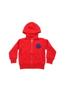 Moncler Jr - Red sweatshirt with purple logo