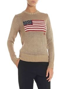 POLO Ralph Lauren - Golden lamé pullover with flag embroidery