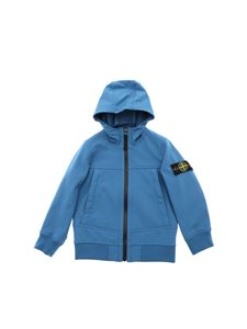 Stone Island Junior - Teal-blue color jacket with logo