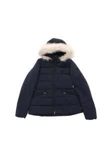 "Peuterey - ""Turmalet"" blue down jacket with eco-fur"