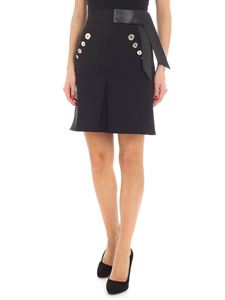 Elisabetta Franchi - Black mini-skirt with eco-leather detail