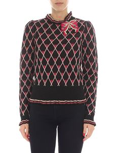 Elisabetta Franchi - Black and pink pullover with brooch