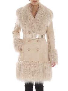Elisabetta Franchi - Beige double-breasted shearling coat